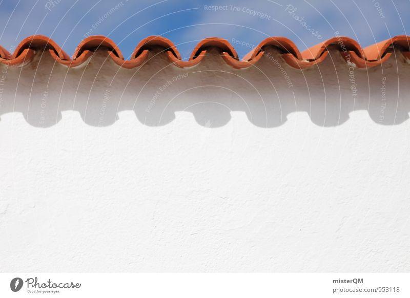 ^V^V^V^V^ Mauer Wand Fassade Dach ästhetisch Dachziegel Wellenform wellig weiß Sommerurlaub sommerlich rot mediterran Symmetrie Ferienhaus Blauer Himmel