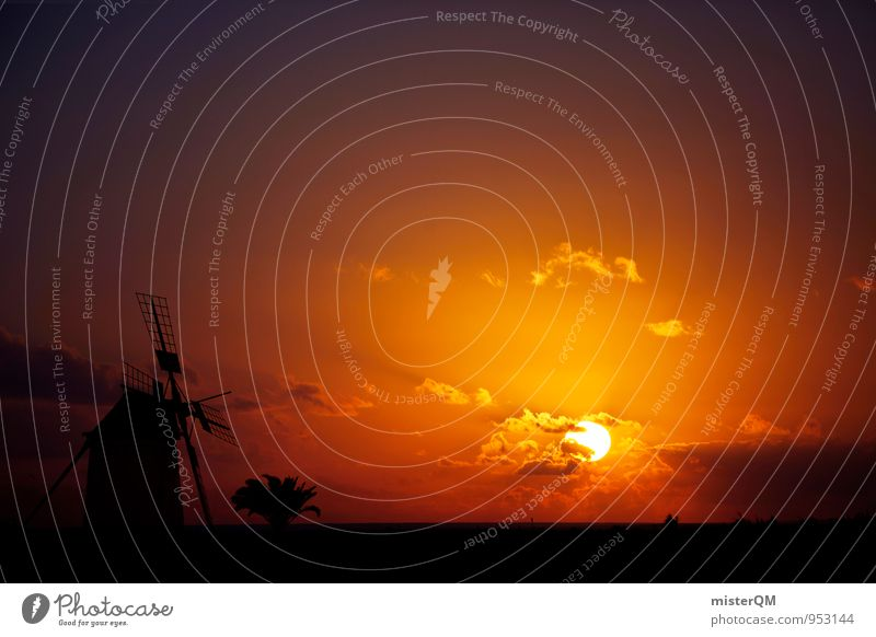 Sonneweg I Kunst ästhetisch Zufriedenheit Sonnenuntergang Romantik Idylle Sonnenlicht Sonnenstrahlen Sonnenenergie Wolken Kitsch Windmühle Spanien Farbverlauf