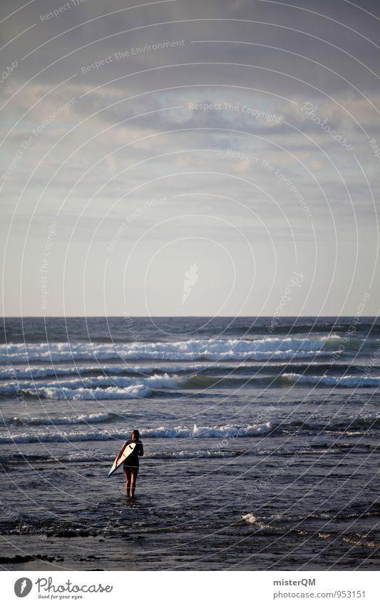 One Day. Kunst ästhetisch Zufriedenheit ruhig Idylle Wellen Wellengang Wellenform Wellenschlag Wellenlinie Wellenbruch Surfer Surfen Surfbrett Spanien