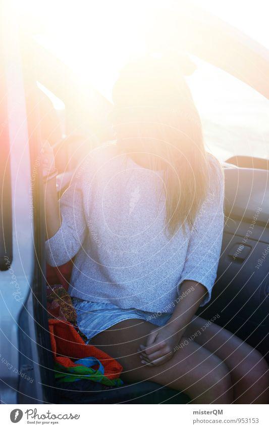 After Surf. Mensch Frau Ferien & Urlaub & Reisen Sommer Sonne Erholung Autofenster PKW Zufriedenheit sitzen ästhetisch Sommerurlaub langhaarig sommerlich Urlaubsfoto Autositz