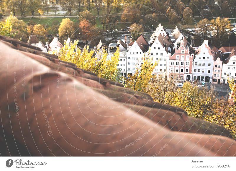 von oben herab Landshut Stadt Altstadt Haus Altstadthaus Häuserzeile Dach Dachziegel Ziegeldach Dachgiebel Giebelseite beobachten Blick historisch braun gold