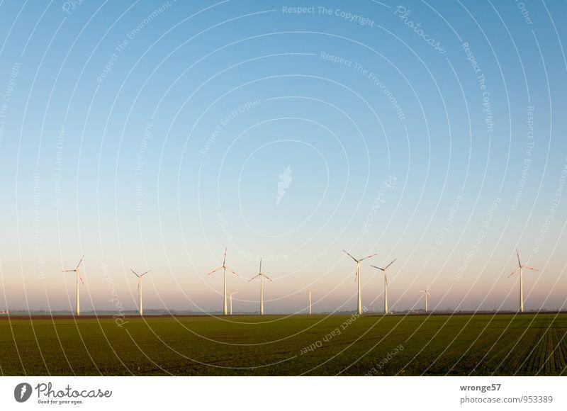 Windpark Himmel blau grün Landschaft Umwelt Horizont Energiewirtschaft Zukunft Schönes Wetter Windkraftanlage Wolkenloser Himmel nachhaltig stagnierend