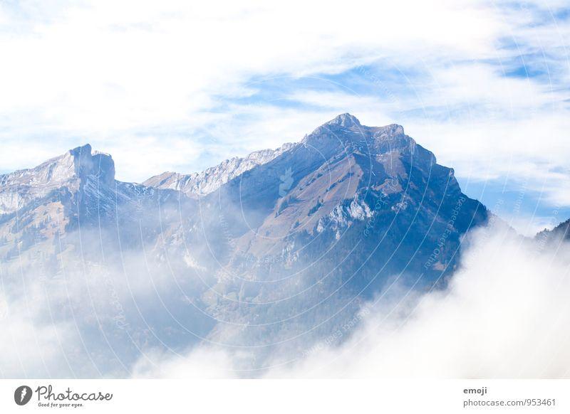 Bergwelt Natur blau weiß Wolken Umwelt Berge u. Gebirge Felsen Klima Schönes Wetter Alpen