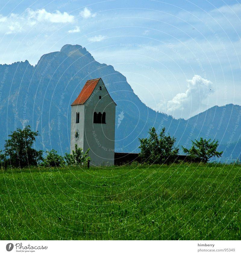 riviera royal XII Natur Himmel grün Pflanze Sommer Wolken Wiese Gras Berge u. Gebirge Landschaft Religion & Glaube Umwelt Turm Alpen Bayern Allgäu
