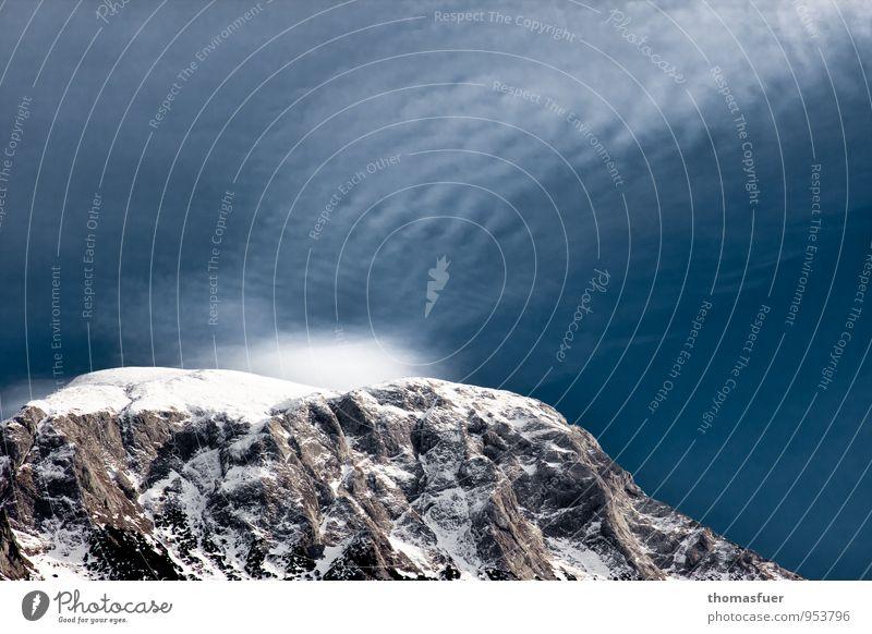 Gipfelsturrm Himmel Natur Ferien & Urlaub & Reisen blau weiß Landschaft Ferne Winter kalt Berge u. Gebirge Schnee Freiheit Felsen Horizont Eis wandern