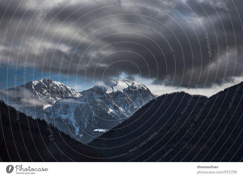 Menetekel Ferne Winter Schnee Winterurlaub Berge u. Gebirge wandern Himmel Wolken Gewitterwolken Horizont Wetter Unwetter Eis Frost Alpen Gipfel