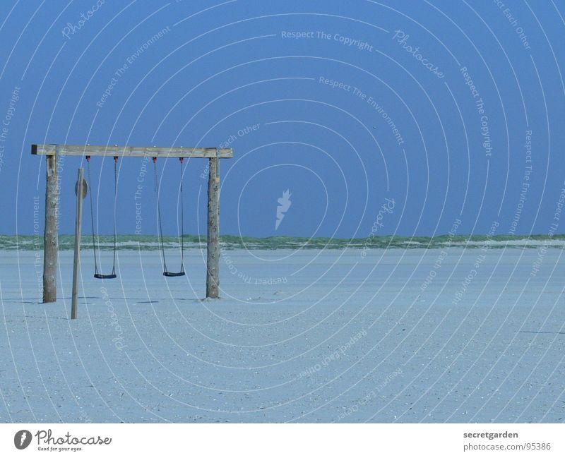 keine kinder am strand Himmel blau Sommer Strand ruhig Einsamkeit Ferne Spielen Freiheit Holz Sand Linie hell Küste Deutschland Schilder & Markierungen