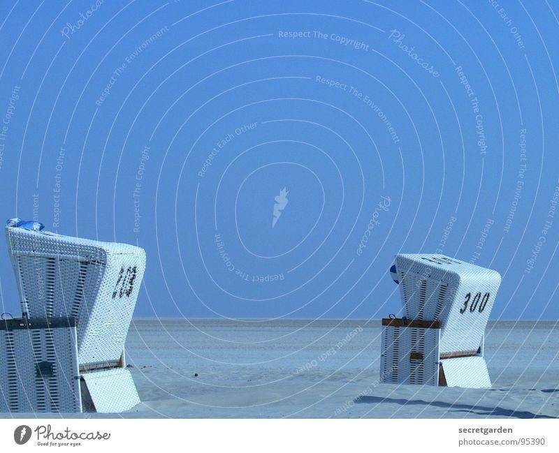 simultangucker Himmel weiß blau Strand ruhig Einsamkeit Ferne Erholung Freiheit Sand hell 2 Küste Deutschland Wind Horizont