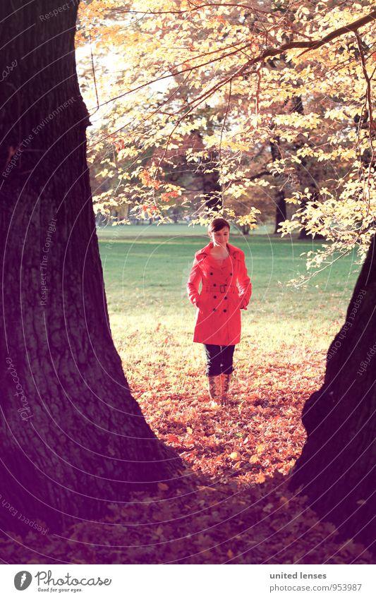AK# HerbstV Kunst Umwelt Natur Landschaft Pflanze ästhetisch Zufriedenheit Mantel rot Baum herbstlich Frau Herbstlaub Herbstfärbung Herbstbeginn Herbstwetter