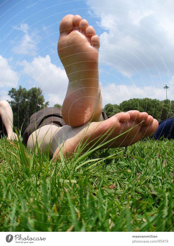 They won't walk Gras Zehen Pause Wiese Langeweile Carina Feet Fuß Himmel Barfuß