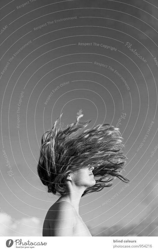 s'éparpiller Kunst ästhetisch Wegsehen verweht wehen Haare & Frisuren Stil Mode Freiheit Schwerkraft Frau Frauengesicht flippig verrückt laut Jugendliche