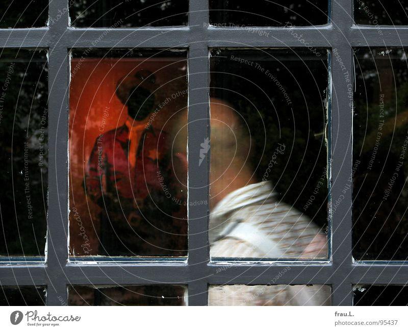 Cowboy Fenster Gemälde Ölgemälde Ausstellung Besucher Mann Halstuch Gastronomie Hosenträger Hemd Hinterkopf gefangen Kunst Kunstausstellung Gitter Wilder Westen