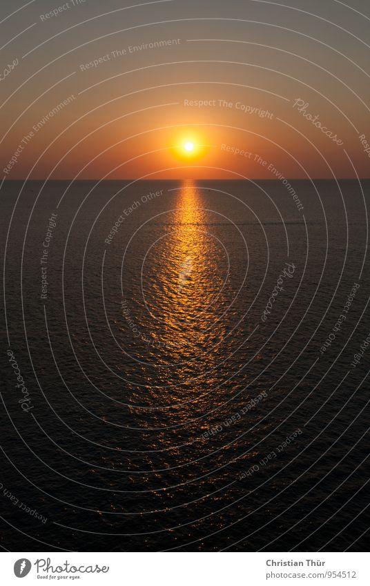 Sonnenuntergang / Sommer Himmel Natur Ferien & Urlaub & Reisen Erholung Meer Landschaft ruhig Schwimmen & Baden außergewöhnlich Stimmung träumen Zufriedenheit