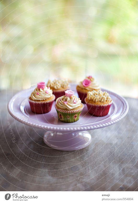 cupcakes Teigwaren Backwaren Kuchen Dessert Süßwaren Ernährung Kaffeetrinken Slowfood Fingerfood lecker süß rosa Cupcake Farbfoto Innenaufnahme Menschenleer