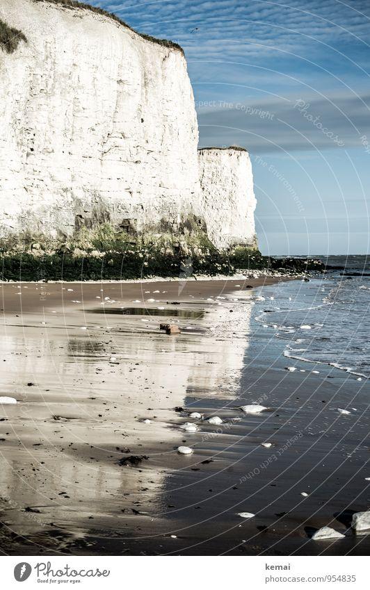 White cliffs Ferien & Urlaub & Reisen Tourismus Ausflug Abenteuer Freiheit Sommer Strand England Kent Umwelt Natur Landschaft Wasser Himmel Wolken Sonnenaufgang