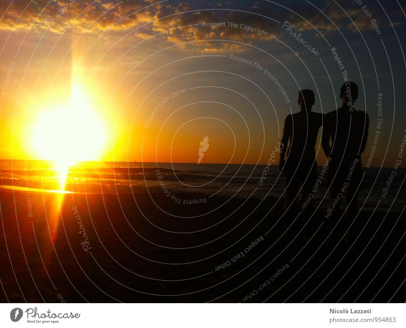 Sonnenuntergang in Sizilien Ferien & Urlaub & Reisen Tourismus Ausflug Freiheit Sightseeing Sommer Strand Insel Wellen Mensch Bruder Jugendliche Leben Körper 2
