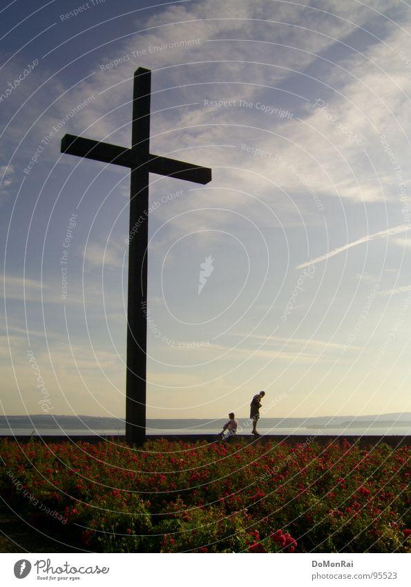 Erde Wasser Himmel blau Blume Wolken schwarz Religion & Glaube Horizont Rücken Perspektive Macht Symbole & Metaphern Christliches Kreuz Skyline Denkmal Kruzifix