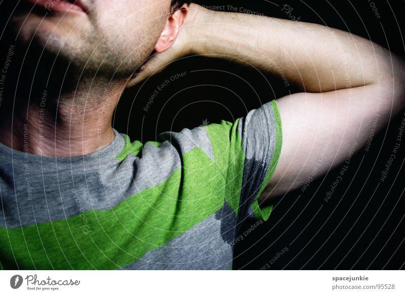 Stinky Winky Mann Sommer Freude Wärme Arbeit & Erwerbstätigkeit Arme Streifen T-Shirt Physik heiß Geruch Achsel verschränken Schweiß Übelriechend Achselhöhle