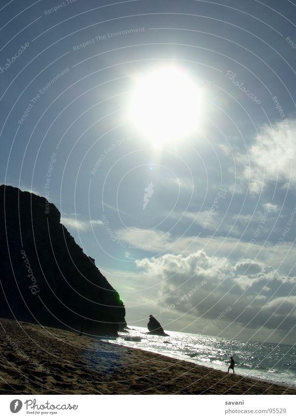 Seaside I Mensch Himmel Natur Ferien & Urlaub & Reisen Wasser Sommer Sonne Meer Erholung Einsamkeit Wolken Strand Wärme Küste Freiheit Sand
