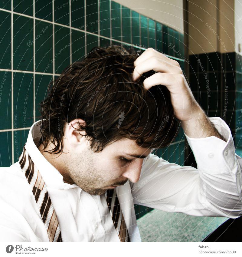 FEIERABEND Mensch weiß grün Auge Traurigkeit Business Luft Arbeit & Erwerbstätigkeit Design gefährlich kaputt bedrohlich T-Shirt Trauer Ende Krankheit