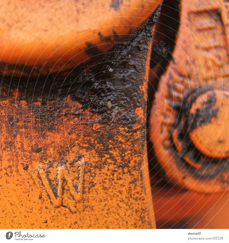 w2 2 orange dreckig Industrie Fett Erdöl Mechanik Hebel ölig