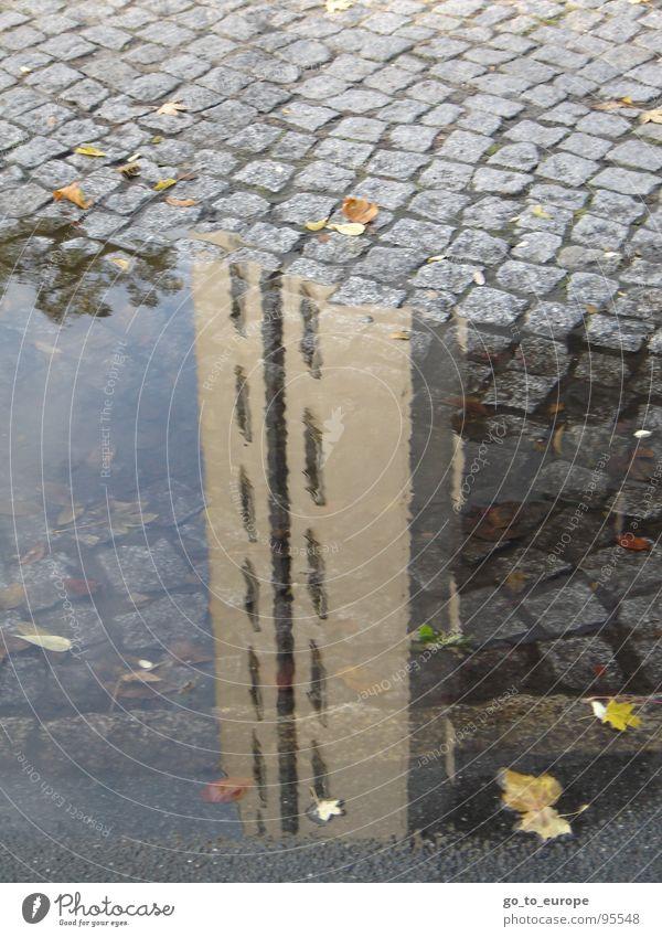 Wolkenkratzend. Geerdet. Wasser grau Hochhaus Kopfsteinpflaster Pfütze