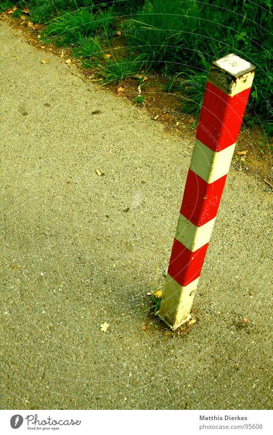 FORBIDDEN Verbote Gras Wiese Sommer gestreift kariert Geometrie parallel Vogelperspektive Grenze Sicherheit Fußgängerzone Klimaschutz Eisen Säule