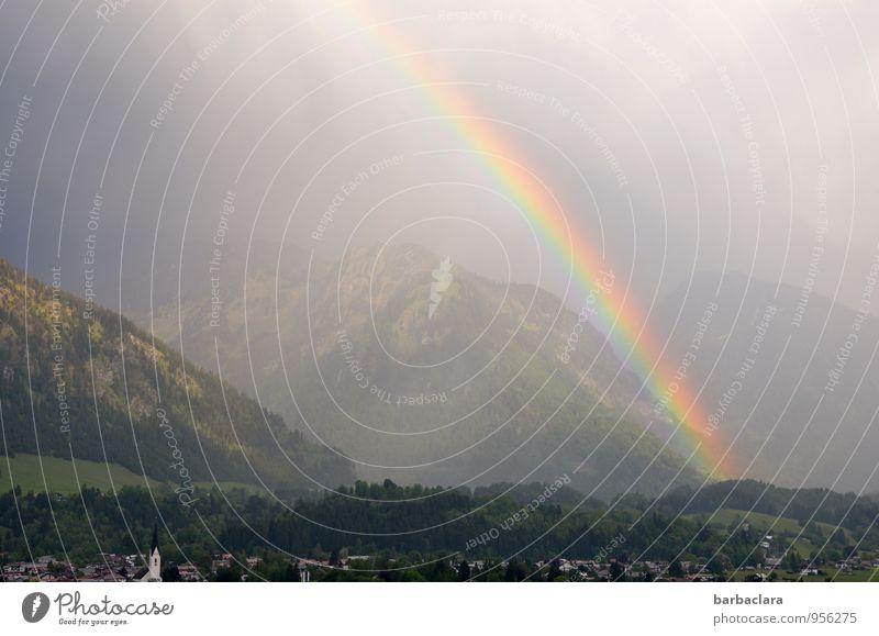 Viel Glück im neuen Jahr Landschaft Alpen Berge u. Gebirge Regenbogen Oberstdorf Dorf Gefühle Stimmung Sehnsucht Farbe Hoffnung Natur Sinnesorgane träumen Ferne