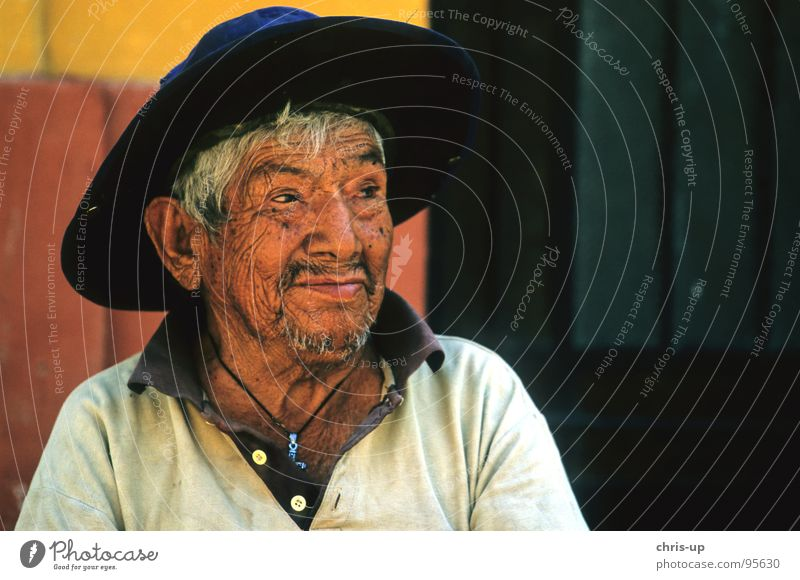 Weinbauer in Peru Lima Senior Südamerika Amerika Markthändler Mann Ferien & Urlaub & Reisen Sombrero Indio einheimisch Gesichtsausdruck Porträt Freundlichkeit