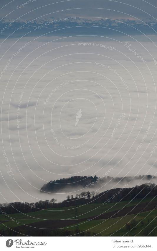 Fernsicht 1 Natur Landschaft Wolken Herbst Nebel Baum Feld Alpen Berge u. Gebirge Schneebedeckte Gipfel träumen wandern außergewöhnlich Ferne Unendlichkeit kalt