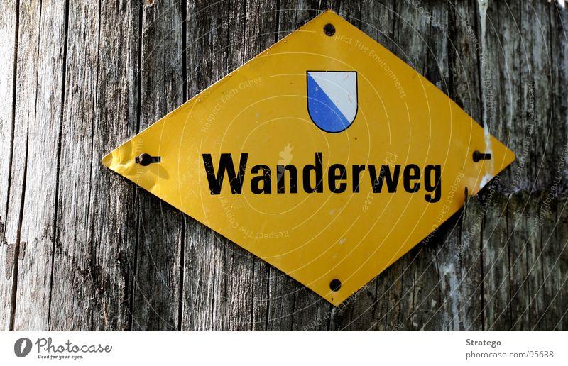 Zürcher Wanderweg Baum gelb Berge u. Gebirge Wege & Pfade gehen laufen Schilder & Markierungen wandern Schriftzeichen Hinweisschild Spaziergang Zeichen Vertrauen Fußweg Baumrinde Nagel