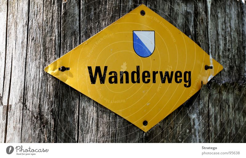 Zürcher Wanderweg Fußweg Nagel Rechteck Wappen Baum Baumrinde wandern Spaziergang gehen gelb Hinweisschild Vertrauen Schilder & Markierungen Zeichen Zürich