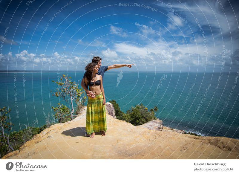 Zusammen genießen Mensch Himmel Ferien & Urlaub & Reisen Jugendliche blau grün weiß Wasser Sommer Junge Frau Erholung Meer Landschaft Wolken Junger Mann