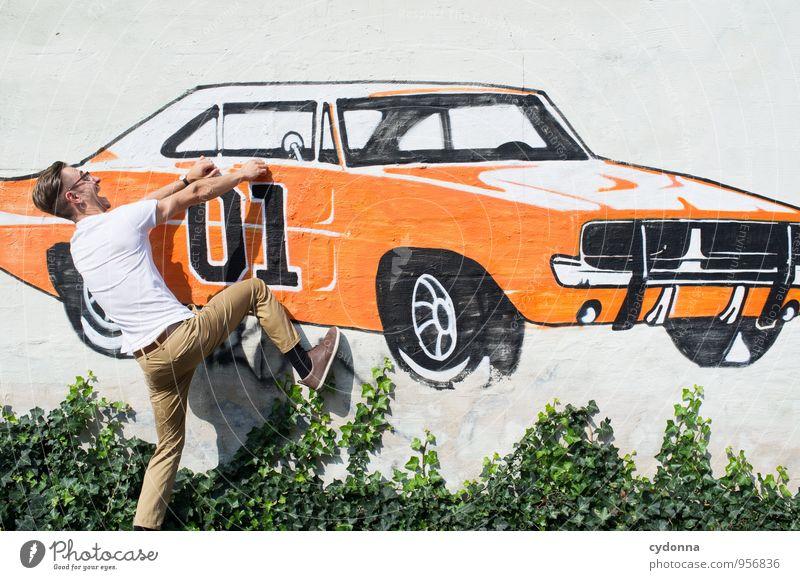 Einsteigermodell Lifestyle Stil Design Freude Mensch Junger Mann Jugendliche Leben 18-30 Jahre Erwachsene Mauer Wand Autofahren PKW Sportwagen Graffiti