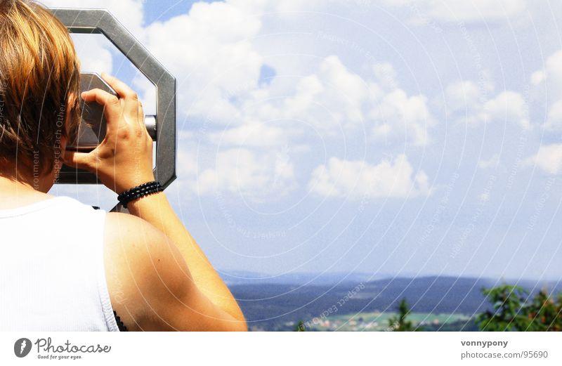 Weitsicht Ferne Wald Fernglas Zukunft Wolken Teleskop Unendlichkeit Franken Ferien & Urlaub & Reisen braun Sommer Himmel Blick Amerika blau Sonne