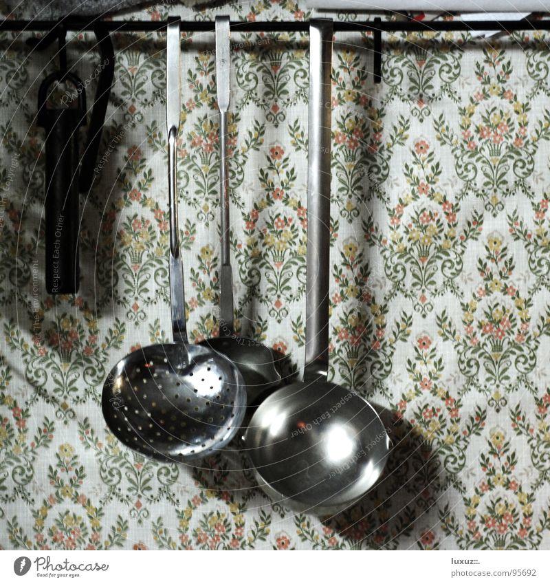 Slow Food Küche kochen & garen Tapete Götter Löffel Muster Mahlzeit kulinarisch Slowfood augehängt altehrwürdig Erholung kitchen granny spoon wallpaper warten