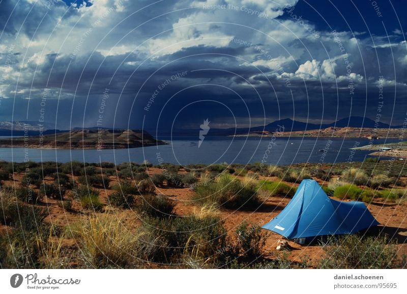 million dollar view Himmel blau Ferien & Urlaub & Reisen Wolken Einsamkeit See Linie Hintergrundbild Wetter Schilder & Markierungen Horizont leer Perspektive