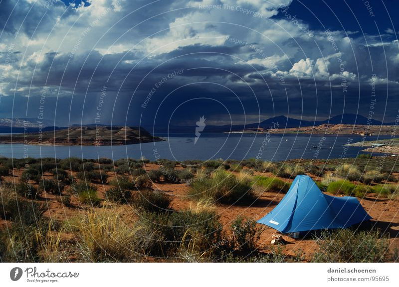 million dollar view Horizont Zelt Camping Einsamkeit leer Hintergrundbild Ferien & Urlaub & Reisen Wolken Fernweh See Unbewohnt Amerika Freizeit & Hobby USA