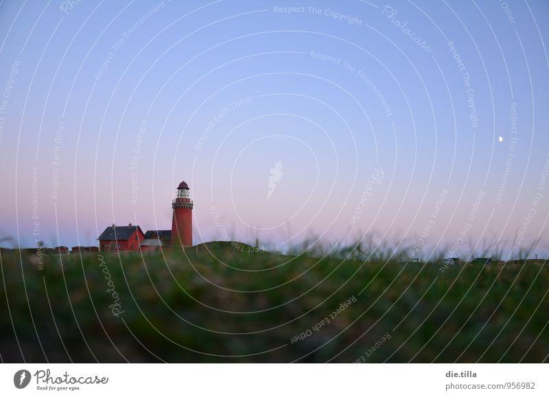 Dämmerungsleuchtturm Landschaft Pflanze Sand Luft Wasser Himmel Wolkenloser Himmel Nachthimmel Mond Gras Hügel Küste Strand Nordsee Leuchtturm Bovbjerg Dänemark