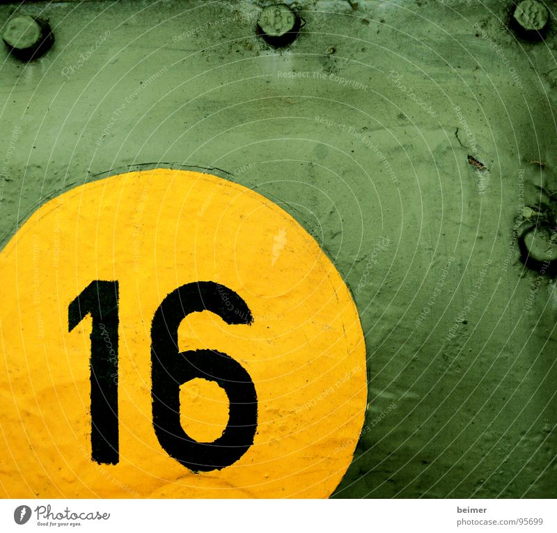 Runde 16 grün gelb Kreis Ziffern & Zahlen Stahl Krieg Schraube Blech Panzer
