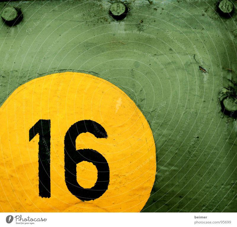 Runde 16 Ziffern & Zahlen Kreis gelb grün Panzer Stahl Blech Schraube mehrfarbig Krieg Farbe
