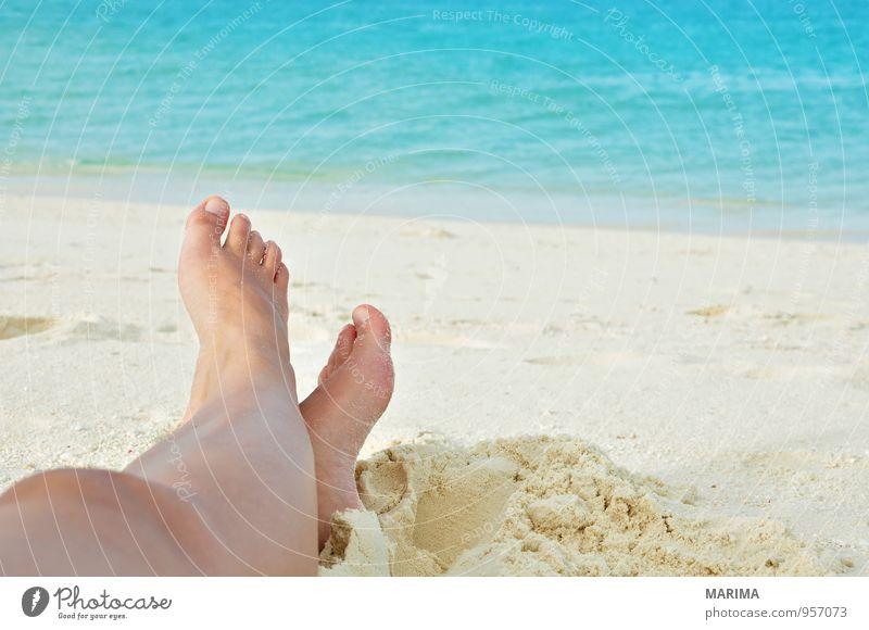 woman legs in the sand Mensch Frau Natur Ferien & Urlaub & Reisen blau weiß Wasser Erholung Meer ruhig Strand Erwachsene Sand Asien türkis exotisch