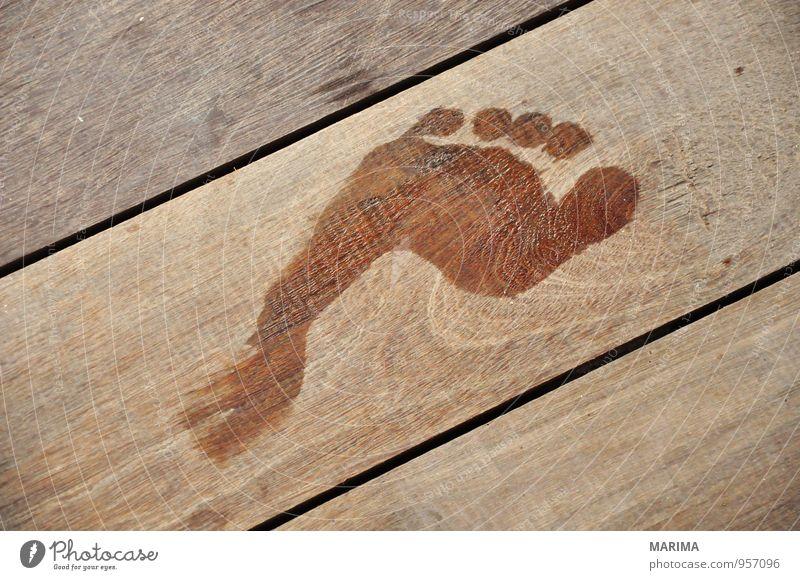 wet Footprint on wooden floor Erholung Ferien & Urlaub & Reisen Mensch Natur Holz Fußspur nass braun abstract brown relaxation foot footprint timber