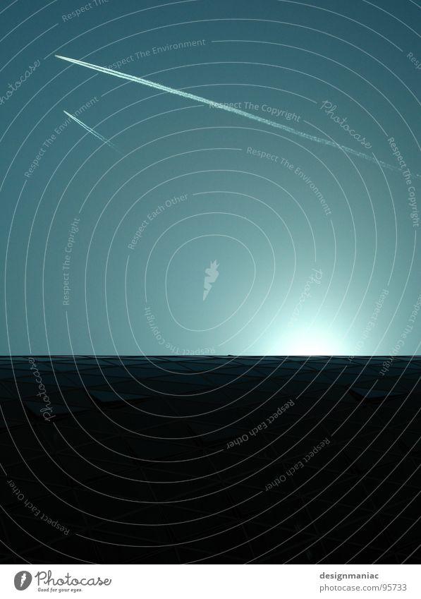 Event Horizon Flugzeug 2 Goldener Schnitt schwarz Sonnenaufgang Hochhaus Raumfahrt Kondensstreifen Horizont Zukunft Trauer leicht schwer Atomkrieg