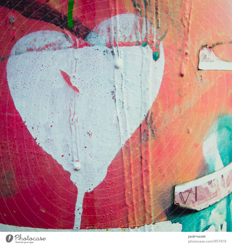 Herzlauf (gemaltes Herz auf Metall) Subkultur Straßenkunst Graffiti dreckig einzigartig nah rot Leidenschaft Liebe Verliebtheit Kreativität Vergänglichkeit
