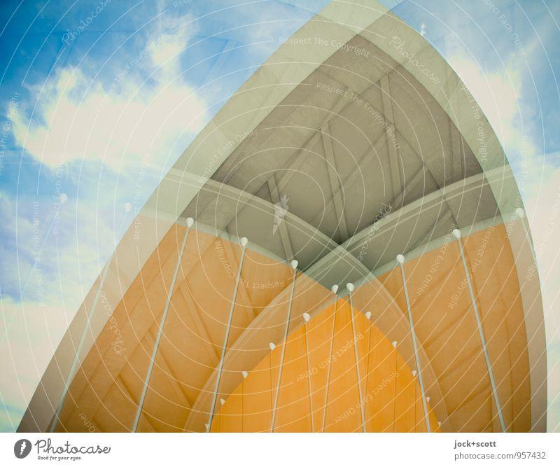Kulturmischung Himmel Sommer Wolken Architektur modern frisch retro rund Verstand Irritation Konstruktion Sehenswürdigkeit skurril Surrealismus Doppelbelichtung
