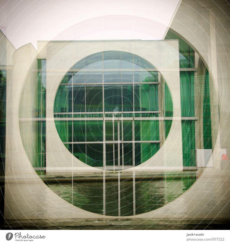 M-E-L-H im Regierungsviertel Architektur schlechtes Wetter Spree Berlin-Mitte Gebäude Fenster Sehenswürdigkeit Beton Kreis Quadrat Bekanntheit groß modern grau