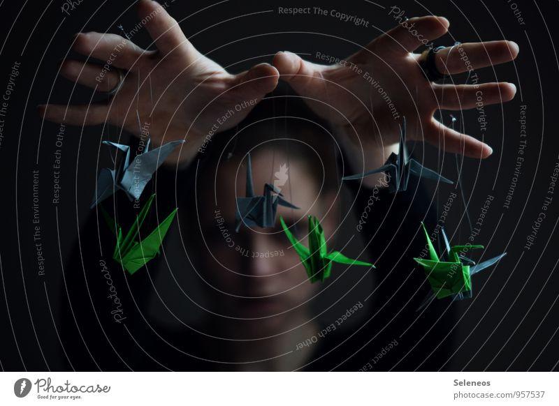 Kranichspieler Mensch Hand Gesicht Spielen Tiergruppe Finger Papier Macht Kontrolle eckig Origami Puppenspieler