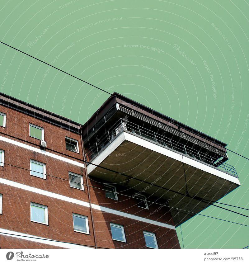 Kommandozentrale Himmel Stadt Haus Fenster Gebäude Wohnung modern Etage Oberleitung Stromtransport