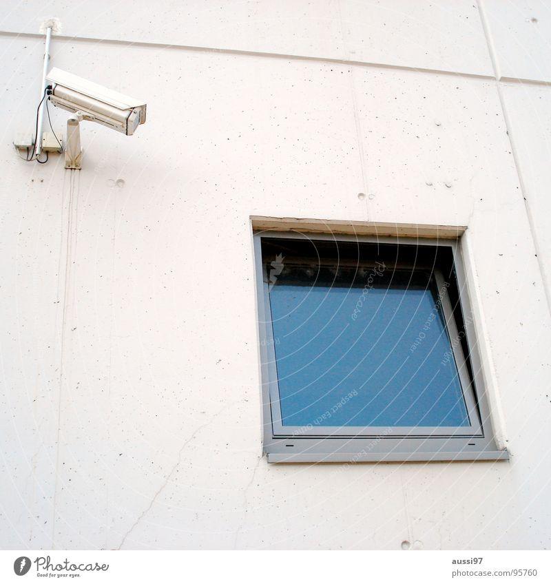 Präventionsstaat Überwachung beobachten Aufzeichnen überwachen Fahndung präventiv Fenster Sicherheit Macht Fotokamera aufzeichnung 1984 George Orwell Amerika